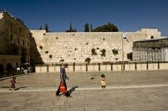 在西部墙壁,耶路撒冷前面的一个场面, 库存图片