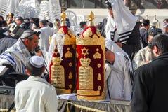 在西部墙壁,耶路撒冷的成人仪式 免版税库存照片