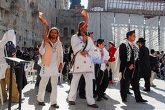 在西部墙壁,耶路撒冷的成人仪式 库存照片