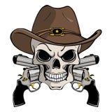 在西部帽子的牛仔头骨和一个对横渡的枪 向量例证