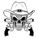 在西部帽子的牛仔头骨和一个对横渡的枪 库存例证