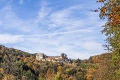 在西部施蒂里亚藤路线的城堡Deutschlandsberg 库存图片