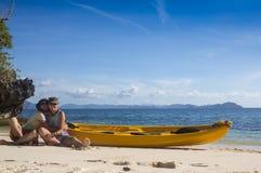 在西部法国制片人盐水湖结合乘独木舟 免版税库存图片