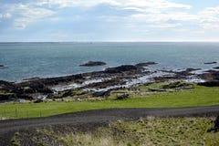 在西部海湾的海岸的Turbidites在冰岛 免版税库存图片
