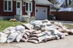 洪水在西部的拉瓦尔,魁北克 免版税图库摄影