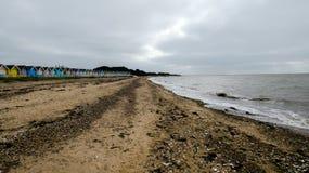 在西部Mersea,艾塞克斯,英国14的海滩 库存照片