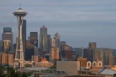 在西雅图地平线日落 库存图片