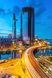 在西贡河的日落 免版税库存照片