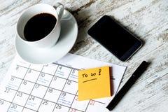 在要做的日历的月度活动 免版税库存照片