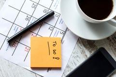 在要做的日历的月度活动 免版税库存图片
