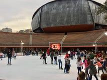在观众席Parco della Musica之外的滑冰的溜冰场在罗马 库存照片