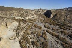 在视图的空中阿尔梅里雅沙漠山 图库摄影