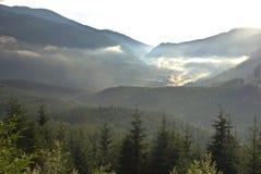 在视图的美丽的喀尔巴阡山脉的山 免版税图库摄影