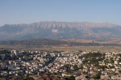 在视图的阿尔巴尼亚gjirokaster 图库摄影