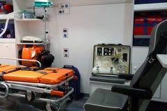 在视图里面的救护车设备 免版税库存照片