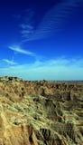 在触毛cloudscape下的恶地国家公园在南达科他美国 免版税库存照片