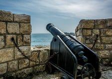 在警卫塔的大炮 免版税图库摄影