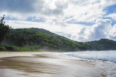 在警察海湾的狂放的热带海滩在塞舌尔群岛9 免版税库存图片
