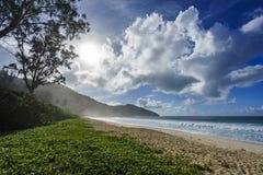 在警察海湾的狂放的热带海滩在塞舌尔群岛2 库存图片