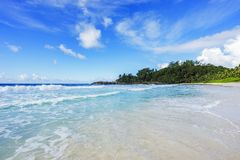 在警察海湾的美丽的天堂海滩,塞舌尔群岛10 库存照片