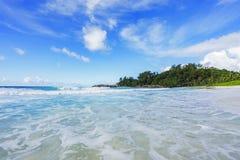 在警察海湾的美丽的天堂海滩,塞舌尔群岛12 库存照片