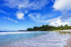 在警察海湾的美丽的天堂海滩,塞舌尔群岛14 库存图片
