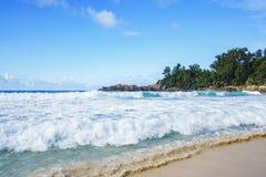 在警察海湾的美丽的天堂海滩,塞舌尔群岛21 免版税库存图片