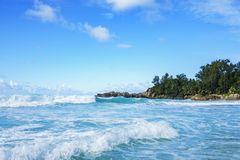 在警察海湾的美丽的天堂海滩,塞舌尔群岛20 库存图片