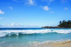 在警察海湾的美丽的天堂海滩,塞舌尔群岛23 图库摄影
