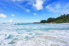 在警察海湾的美丽的天堂海滩,塞舌尔群岛25 库存图片
