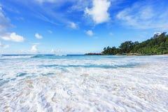 在警察海湾的美丽的天堂海滩,塞舌尔群岛24 免版税库存图片