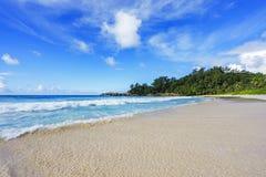 在警察海湾的美丽的天堂海滩,塞舌尔群岛27 库存照片
