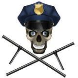 在警察盖帽的头骨 库存照片