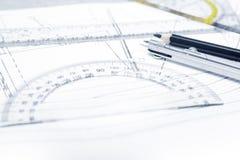 在计划的工程学工具 库存图片