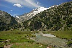 在计划Aigualluts的阿内托峰峰顶 免版税库存图片