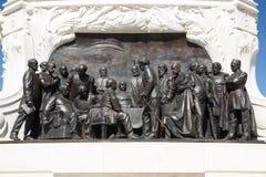 在计数久洛Andrassy特写镜头的纪念碑的浅浮雕 芽 库存照片