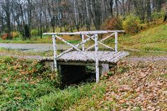 在计数列夫・托尔斯泰庄园的桦树桥梁在Yasnaya Polyana 免版税图库摄影