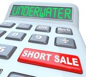 在计算器的水下的卖空词 免版税库存图片