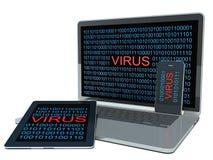 在计算机上的病毒 免版税库存照片