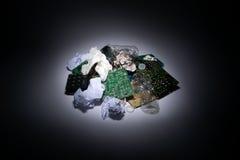 在计算机垃圾的聚光灯 库存照片