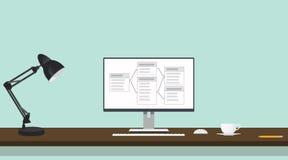 在计算机屏幕上的关系数据库桌  免版税库存照片