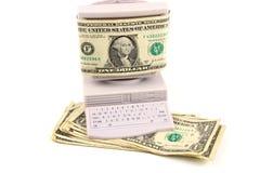 在计算机屏幕的货币 库存图片