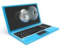 在计算机展览会的钥匙保护了密码或开锁 免版税图库摄影