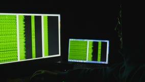 在计算机显示器后的人 互联网瘾反射黑客浏览夜间代码网络的罪行玻璃 股票录像