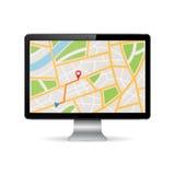 在计算机显示器的GPS地图 库存照片