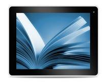 在计算机片剂屏幕上的书 在网上读 免版税库存照片