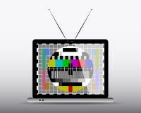 在计算机的电视 免版税库存图片