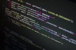 在计算机的PHP CSS代码 库存照片