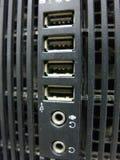 在计算机盒的USB端口 免版税库存图片