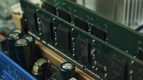 在计算机主板安装的随机存取存储器模块 影视素材